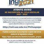 ¡Atento Aviso! re inscripción al ciclo escolar 2021 – 2022