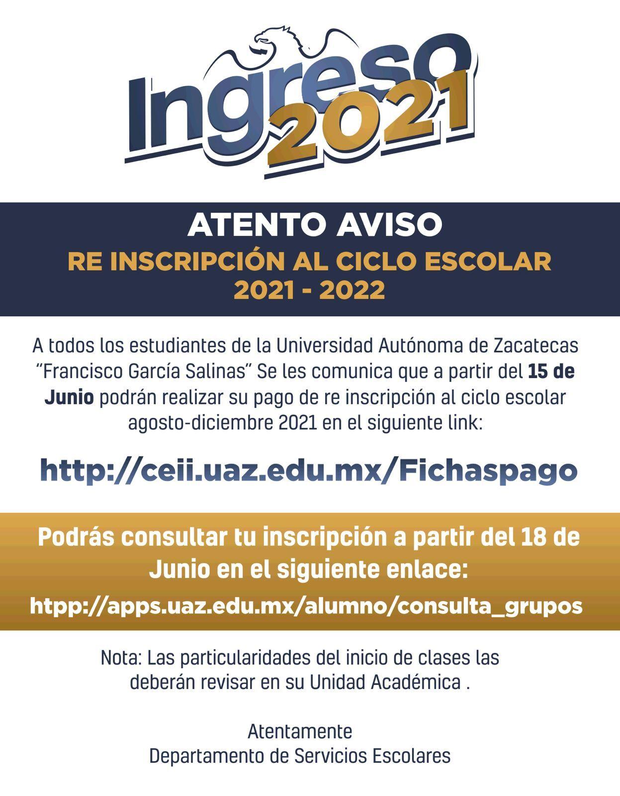 re inscripción ciclo escolar 2021 - 2022